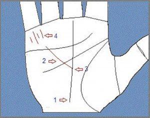Трактовка треугольников на руке