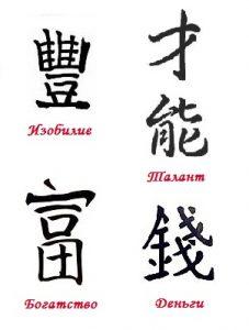 Иероглифы Талант в фен-шуй