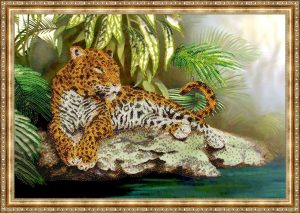 вышивка бисером леопарда