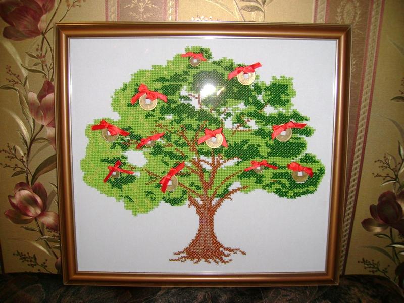 Вышивка денежного дерева бисером