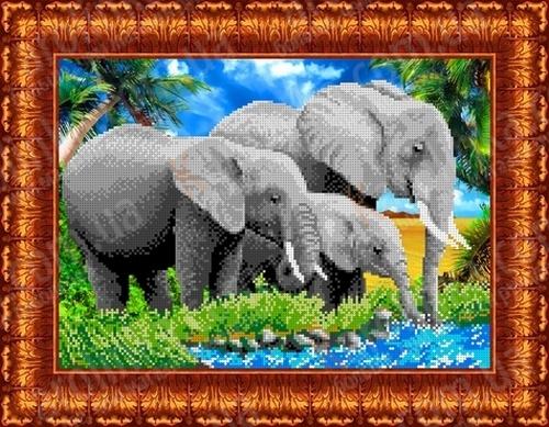 вышивка бисером слона с ребёнком