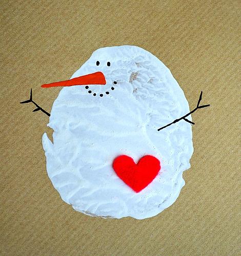 Снеговичок - отпечаток картошки