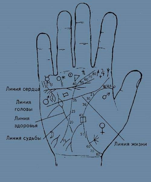 Символы на линии сердца